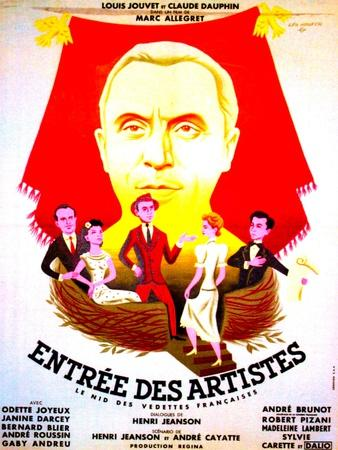 ENTREE DES ARTISTES, (aka THE CURTAIN RISES), French poster art, top: Louis Jouvet, 1938