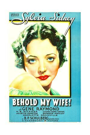 BEHOLD MY WIFE, Sylvia Sidney on US poster art, 1934