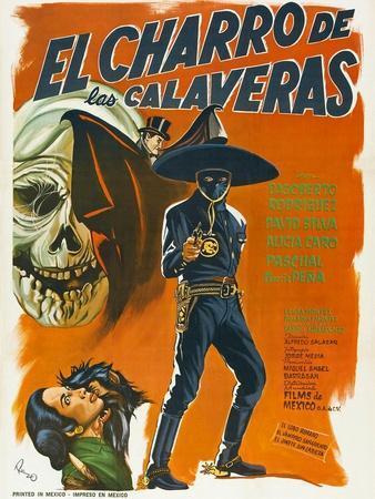 El Charro de las Calaveras, (aka The Rider of Skulls), Mexican poster, Dagoberto Rodriquez, 1965