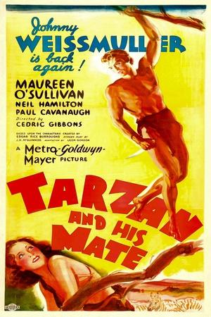 TARZAN AND HIS MATE, top: Johnny Weissmuller, bottom: Maureen O'Sullivan, 1934.