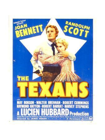 THE TEXANS, from left: Randolph Scott, Joan Bennett on window card, 1938