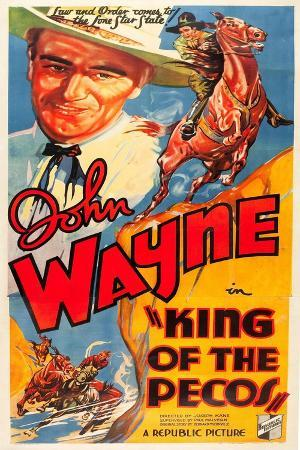 KING OF THE PECOS, John Wayne on poster art, 1936.