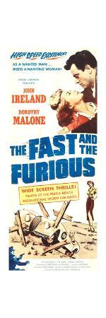 THE FAST AND THE FURIOUS, top l-r: Dorothy Malone, John Ireland on insert poster art, 1955
