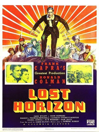 LOST HORIZON, top center: Ronald Colman, bottom left: Ronald Colman on window card, 1937.