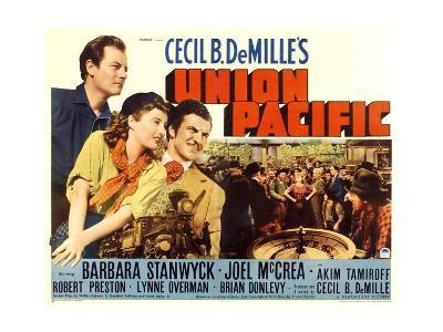UNION PACIFIC, from left: Joel McCrea, Barbara Stanwyck, Robert Preston, 1939.