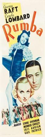 RUMBA, top: Margo, bottom l-r: Carole Lombard, George Raft on insert poster art, 1935.