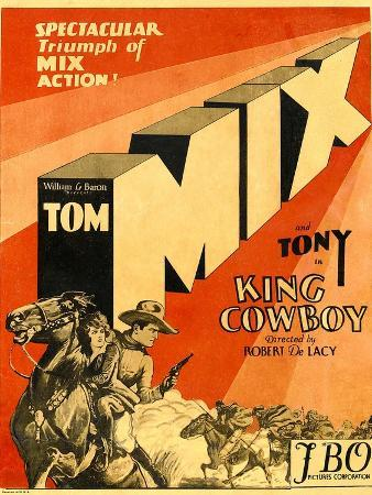 KING COWBOY, lower left, from left to right: Tony the Wonder Horse, Sally Blane, Tom Mix, 1928.