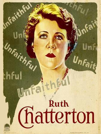 UNFAITHFUL, Ruth Chatterton on window card, 1931.
