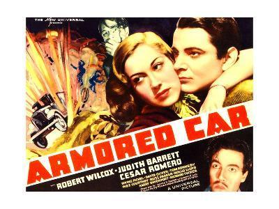 ARMORED CAR, top l-r: Judith Barrett, Robert Wilcox, bottom: Cesar Romero on poster art, 1937