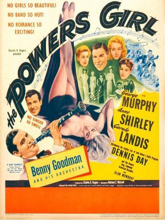 The Powers Girl, Benny Goodman on window card, 1943