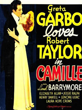 Camille, Robert Taylor, Greta Garbo on window card, 1936