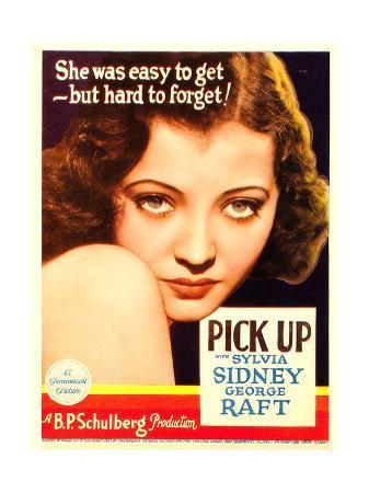 PICK-UP, Sylvia Sidney on midget window card, 1933.