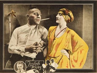 FOOLISH WIVES, l-r: Erich Von Stroheim, Maude George on lobbycard, 1922.