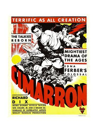 CIMARRON, from left: Richard Dix, Irene Dunne on window card, 1931.
