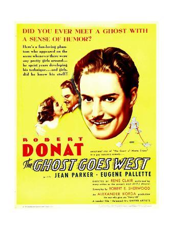 THE GHOST GOES WEST, from left: Jean Parker, Robert Donat on window card, 1935.