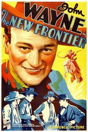 THE NEW FRONTIER (aka FRONTIER HORIZON), John Wayne, movie poster art, 1935.