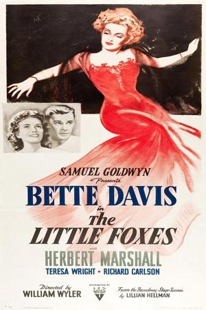 THE LITTLE FOXES, l-r: Teresa Wright, Herbert Marshall, Bette Davis on poster art, 1941