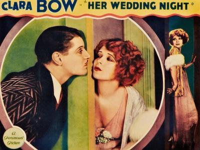 HER WEDDING NIGHT, l-r: Ralph Forbes, Clara Bow on lobbycard, 1930