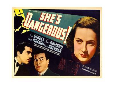 SHE'S DANGEROUS!, from left: Cesar Romero, Walter Pidgeon, Tala Birell, 1937