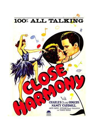 CLOSE HARMONY, inset from left: Nancy Carroll, Charles 'Buddy' Rogers on window card, 1929.