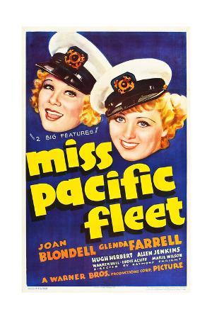 MISS PACIFIC FLEET, US poster art, from left: Glenda Farrell, Joan Blondell, 1935