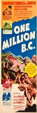 ONE MILLION B.C., left and right: Victor Mature, Carole Landis on insert poster, 1940.