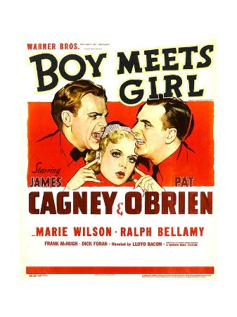 BOY MEETS GIRL, from left: James Cagney, Marie Wilson, Pat O'Brien, 1938.