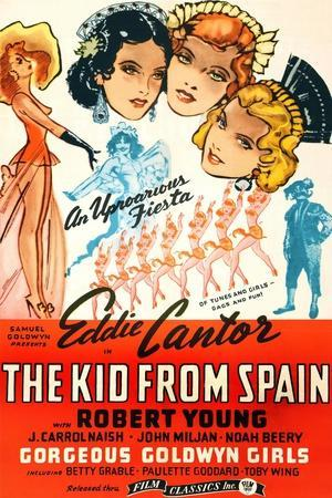 THE KID FROM SPAIN, US 1944 reissue poster art, Eddie Cantor (bottom right, in matador suit), 1932