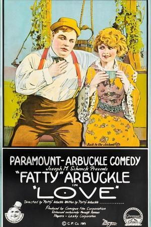 LOVE, l-r: Roscoe 'Fatty' Arbuckle, Winifred Westover on poster art, 1919