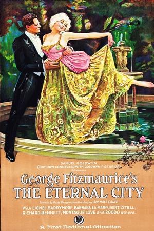 THE ETERNAL CITY, l-r: Barbara La Marr, Lionel Barrymore on poster art, 1923.