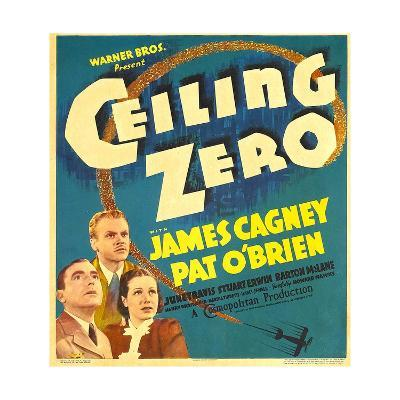 CEILING ZERO, from left: Pat O'Brien, James Cagney, June Travis on window card, 1936