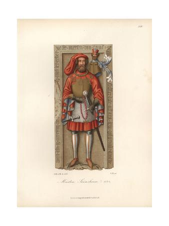 Knight in Armor From the 15th Century with Shield And Helmet
