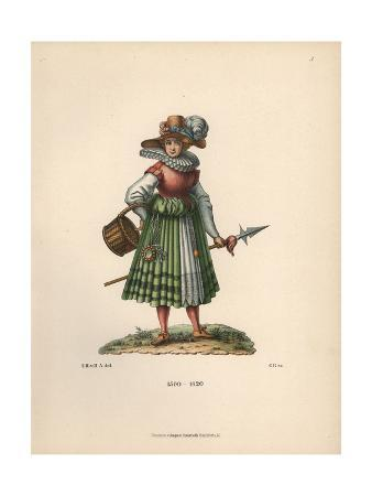 Camp Follower From the 17th Century, with Lance And Basket