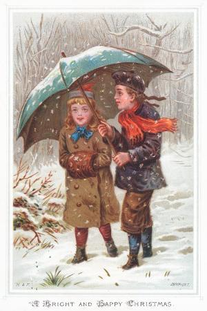 Walking under Umbrella in Snow Storm, Christmas Card
