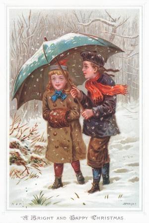Walking under Umbrella in Snow Storm, Christmas Card