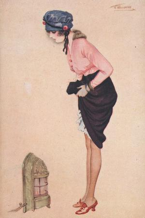 A Womam Lifting Her Skirt to Warm Her Legs by a Small Heater