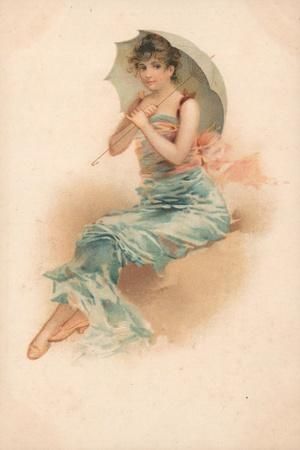 A Young Woman Sheltering Beneath a Parasol