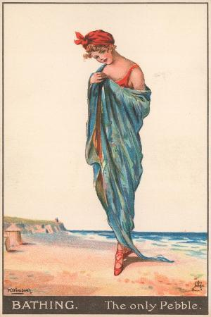 A Young Woman Draped in a Towel on a Beach