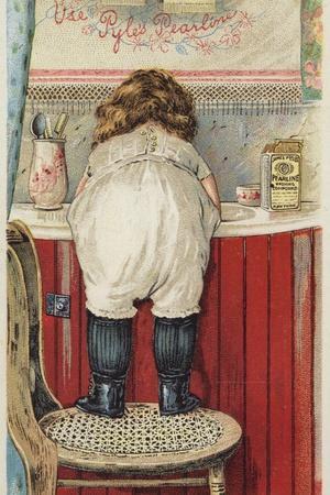 Girl Leaning over Sink Little Mischief