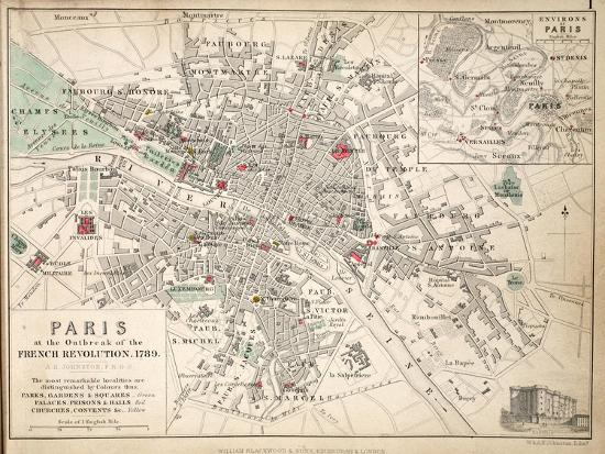 Map Of France In 1789.Map Of Paris At The Outbreak Of The French Revolution 1789 Giclee
