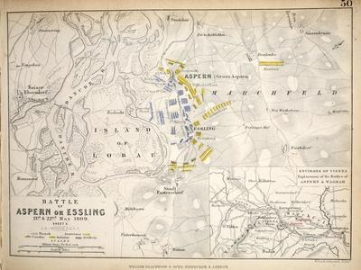 Map of the Battle of Aspern or Essling, Published by William Blackwood and Sons, Edinburgh and…
