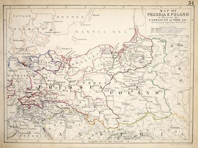 Map of Prussia and Poland, Published by William Blackwood and Sons, Edinburgh and London, 1848