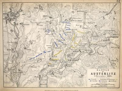 Map of the Battle of Austerlitz, Published by William Blackwood and Sons, Edinburgh and London,…