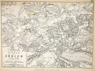 Map of the Battle of Zurich, Published by William Blackwood and Sons, Edinburgh and London, 1848
