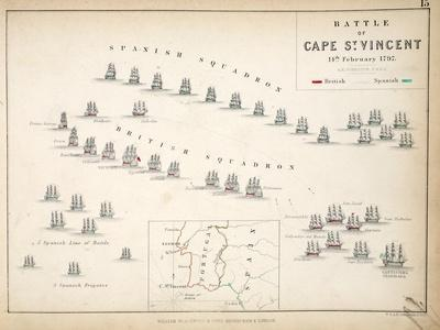 Map of the Battle of Cape St. Vincent, Published by William Blackwood and Sons, Edinburgh and…