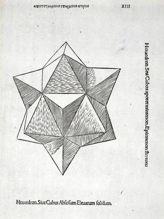 Hexaedron Abscisum Elevatum Solidum, Illustration from 'Divina Proportione' by Luca Pacioli…