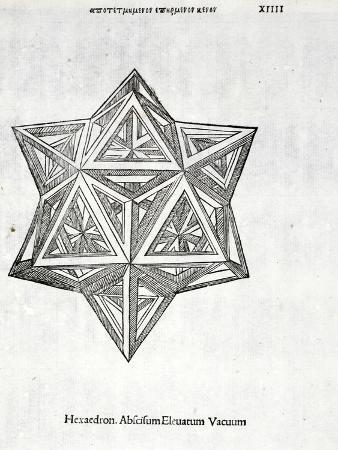 Hexacedron Abscisum Elevatum Vacuum, Illustration from 'Divina Proportione' by Luca Pacioli…
