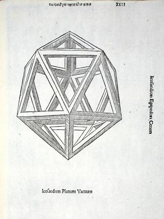 Icosaedron Planum Vacuum, Illustration from 'Divina Proportione' by Luca Pacioli (C.1445-1517),…