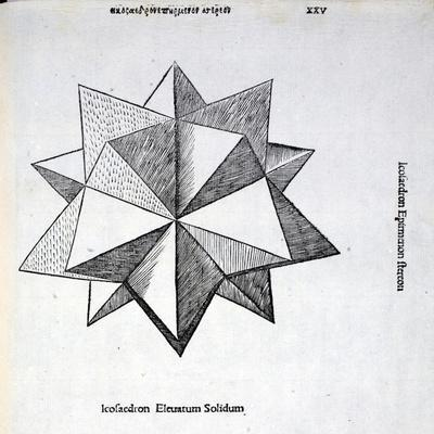 Icosaedron Elevatum Solidum, Illustration from 'Divina Proportione' by Luca Pacioli…