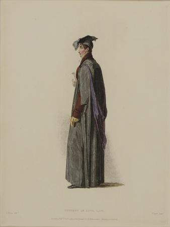 Student in Civil Law, Engraved by J. Agar, Published in R. Ackermann's 'History of Oxford', 1814